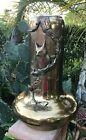 """Antique Art Nouveau Large Urn Vase  Brass Raised Owls Design 20"""""""