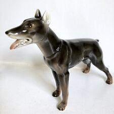 Doberman Pinscher Dog Figurine 8.5� Vtg Ceramic Porcelain