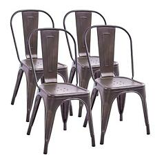 Set of 4 Tolix Bronze Dining Chairs Stackable Design Stools Industrial Metal