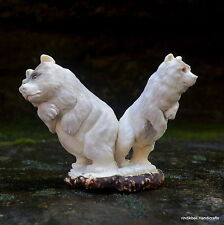 Bears Carved 92x117mm in Deer Antler Bali Carving ST504 Table Decor