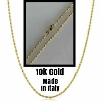 """Real Solid 10k Yellow Gold Rope Chain Light Ladies Necklace 1.5mm 16""""-20"""" ITALY"""
