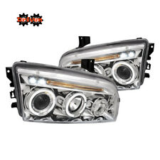 06-10 Dodge Charger Headlights Chrome Projector w/LED DRL Dual Halo