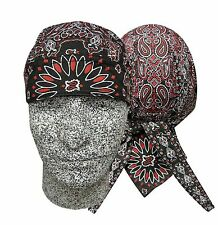 Black / Red Paisley Bandanna Biker Do Doo Du Rag Head Wrap Skull Cap Hat