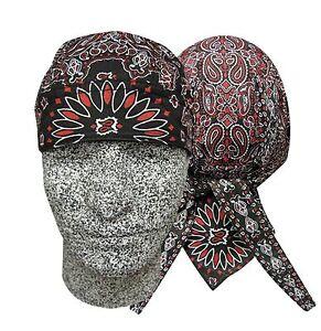 Black / Red Paisley Bandanna Biker Do Doo Du Rag Head Wrap Skull Cap Hat