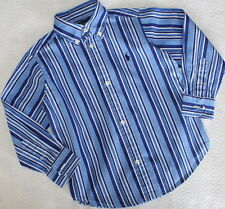 RALPH LAUREN Long Sleeve Button Down Blue Stripe Shirt Toddler Boy Size 3 3T