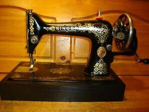 ANTIQUE SINGER SEWING MACHINE MODEL 66 'GINGERBREAD' ,HAND CRANK, SERVICED