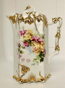 Antique Hand Painted Porcelain Chocolate Tea Coffee Pot Floral Gold Art Nouveau