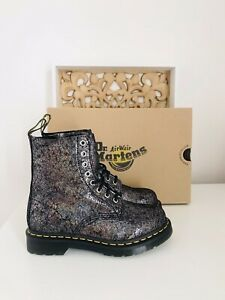 Dr Martens Gunmetal Iridescent Soft Leather Boots Brand New In Box