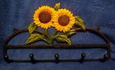 "Wrought Iron Sunflower Key Rack 13"" Long"