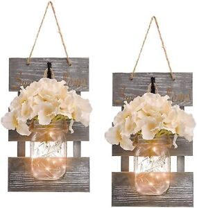 Mason Jar Wall Decor with 6-Hour Timer LED Lights and Flowers Rustic Home Decor