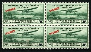 HAITI AIR MAIL Stamps Scott.C1 SPECIMEN 25c Monoplane (1930) Block{4} MNH SS2692