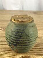 "3.5"" Ceramic Pottery Vase Jar Artist Signed Studio Art Green Earth Tones"