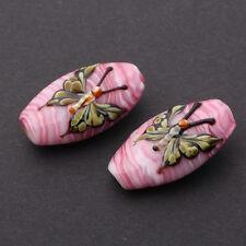 6pcs handmade Lampwork glass  Beads pink flower butterfly 10*15*27mm