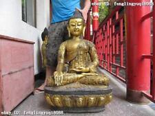 "38""Tibet Buddhism fane Bronze Gild Tathagata Sakyamuni Amitabha Buddha Statue"