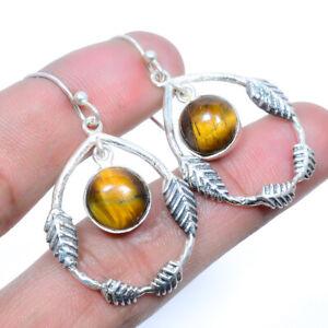 "Yellow Tiger'S Eye Gemstone 925 Sterling Silver Leaf Earring Jewelry 1.77"" W2487"