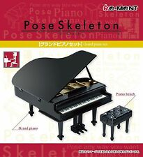 Pose Skeleton Grand Piano with bench Set Miniature Dollhouse furniture Re-ment