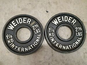 """Weider 2.75lb olympic plates weights Iron Plates 2"""" holes home gym"""