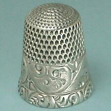 Antique Sterling Silver Scroll Band Thimble by Simons Brothers * Circa 1890s