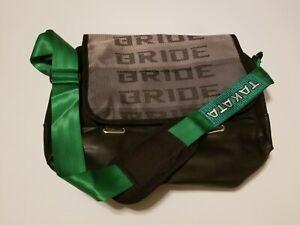 JDM BRIDE RACING LAPTOP SHOULDER BAG Green HARNESS STRAPS GRADATION TAKATA