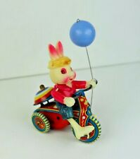 Vintage Japanese Celluloid Wind Up Easter Bunny Rabbit Blue Balloon on Tricycle