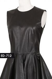 Genuine Soft Lambskin Leather Big Flare Dress