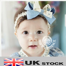 Baby Headband Hairband Blue Double Bow Age Newborn UK SELLER