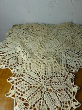 "Set of 8 Vintage Doily Coasters Hand Crocheted 5 3/8"" Ecru Dark Ivory"