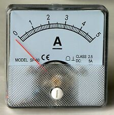 DC Analog Ammeter Panel Mount 0-5 Amp PM00A5-DC