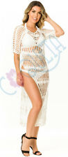 COQUETA Crochet Women's SEXY Beach tunic Dress White Cover Up swimsuit swimwear