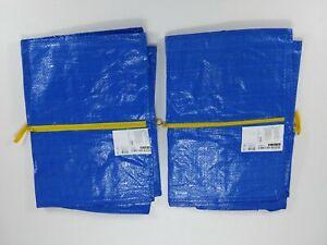 2 Ikea Zippered Frakta Storage Bags. Reusable Blue 20 Gallon/each bag.