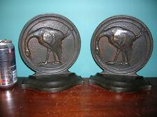 Antique flamingo bird Audubon bronze bookends, Segar Studios?, 1925, 11 pounds
