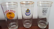 Two Vintage Tiger Beer Glasses & One Anchor Beer Glass