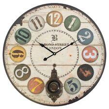Colle RUE LONDRES HORLOGE MURAL BOIS CUIVRE pendule chiffre romain 60cm vintage