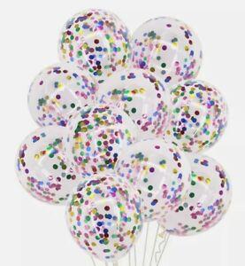 10x Rainbow Confetti Filled Latex Balloons For Wedding Birthday Christening