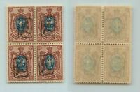 Armenia 1919 SC 38 mint handstamped - a black block of 4 . f7075