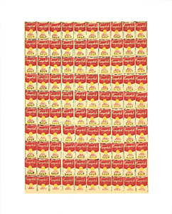 ANDY WARHOL 100 Cans 20 x 16 Serigraph 1991 Pop Art Yellow, Orange, Red Campbell