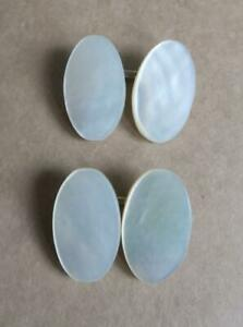 VINTAGE MOTHER OF PEARL OVAL CUFFLINKS MOP SHIRT CUFF FASTENERS
