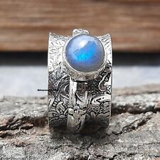Labradorite Spinner Ring 925 Sterling Silver Plated Handmade Ring Size 8 Ms1418