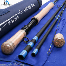 Switch Fly Fishing Rod 11'6'' 9WT 4Pcs Carbon Fiber Graphite Medium-Fast Action