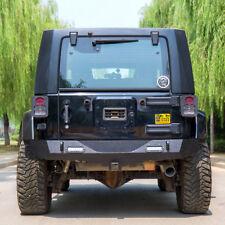 Rear Bumper Rock Crawler & Hitch Receiver 07-18 Jeep Wrangler JK w/ 2 LED lights