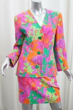 GIVENCHY COUTURE Womens VINTAGE Multicolor Silk Jacket+Skirt Suit 40/8 M
