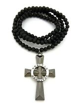 "Hip Hop Veritas Aequitas Ring Cross Pendant 6mm 30"" Wood Bead Chain Necklace"