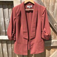 M&S Woman Cognac 80s Style Open Front Blazer Jacket Size 14 VGC