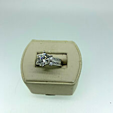 Solitare with Accents Engagement Ring Beautiful Sterling Silver Cubic Zirconia