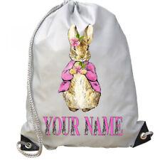 Personalised Girls Pink Peter Rabbit Sport Gym School PE Swim Ballet Dance Bag!