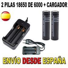 CARGADOR Y 2 PILAS BATERIAS 18650 DE 6000MAH 6000 RECARGABLES ION LITIO LI-ION