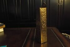 Old Vintage Wooden Match Holder for table for wall hanging Brass Flowers front &
