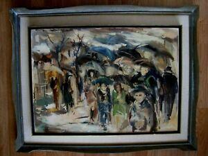 EARLY ORIGINAL 1968 MOSHE CHAUSKI ISRAELI ARTIST OIL PAINTING PEOPLE IN THE RAIN