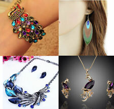 Peacock Jewellery, Necklace, Earrings, choice of several designs and shades