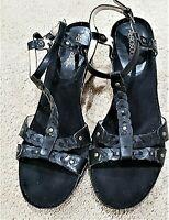 Aerosoles black leather jute wedge heel slingback sandals SZ 8.5 M